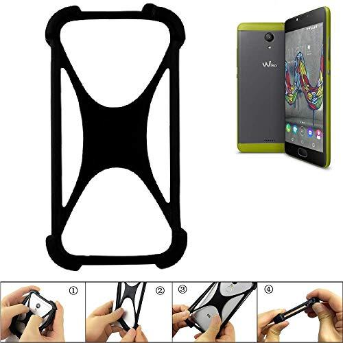 K-S-Trade® Handyhülle Für Wiko U Feel Fab Schutz Hülle Silikon Bumper Cover Case Silikoncase TPU Softcase Schutzhülle Smartphone Stoßschutz, Schwarz (1x),