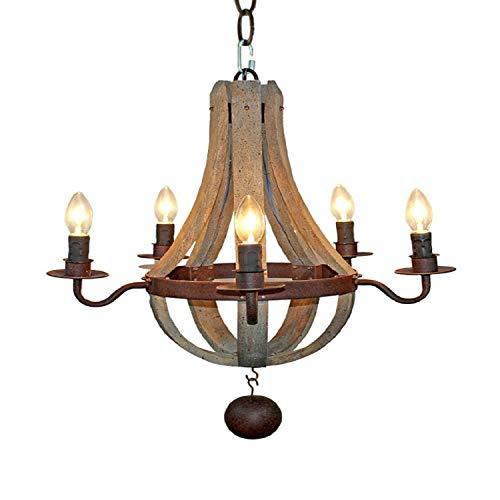 Lámpara LJF. Candelabro de madera, lámparas de madera de viento industrial, lámpara de araña de madera de barco vintage