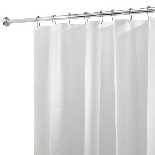 iDesign 3.0 Liner Futter für Duschvorhang, 180,0 cm x 200,0 cm großer Vorhang aus schimmelresistentem PEVA mit zwölf Ösen, weiß