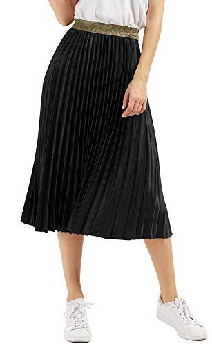 CHARTOU Womens Elastic-Waist Accordion Pleated Metallic Long Party Skirt (Black, one Size)