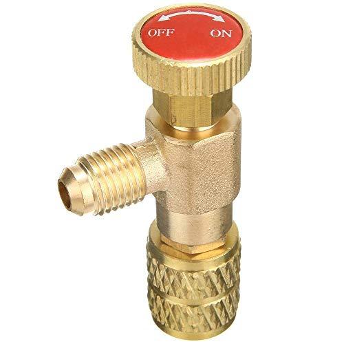 Válvula 1 Pieza R410A Válvulas frías Aire Acondicionado Manguera de llenado Adaptador de válvula de Control de Flujo Conector SAE de 1/4 Pulgada a Hembra SAE de 5/16 Pulgadas, Herramienta de hardwar
