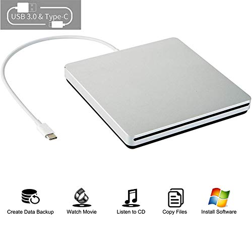 External CD DVD Drive USB C CD DVD Burner/Writer Slim Portable Slot in CD DVD Reader for MacBook Pro/Air/Mac/Laptop/Windows10 (Sliver)