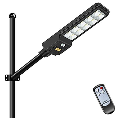 LEDMO 500W Lampione Solare LED Esterno con Pannello Solare,Lampione Solare 6500K Bianco Freddo,Lampione LED con Sensore di Movimento Radar, 660LEDs, 3.2V 44000MAH,Telecomando, IP65 Impermeabile