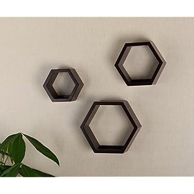 V-LIGHT Wood Wall Finish, Set of Three Cubes (VW151006E) Decorative Shelving, Espresso