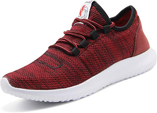 CAMVAVSR Men's Workout Shoes Fashion Running Sneakers Slip on Lightweight Soft Sole for Young Men Red Size 6