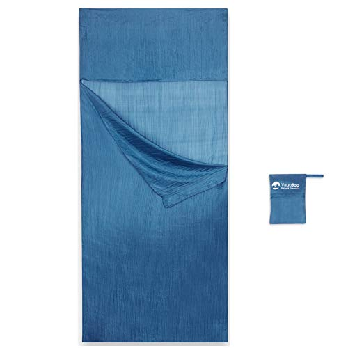 Vagabag Hüttenschlafsack Insektenschutz Seide - Reiseschlafsack Ultraleicht - Als Sommer Schlafsack und Schlafsack Inlay geeignet - Premium Seidenschlafsack 100% Naturseide