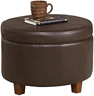Attrayant HomePop K6862 E846 Round Faux Leather Storage Ottoman Living Room Furniture  Chocolate Brown
