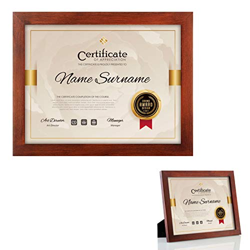 RPJC 2 pcs Sets Solid Wood Document Frames Display Certificate 8.5x11 inch Brown and 8.5x11 inch Brown