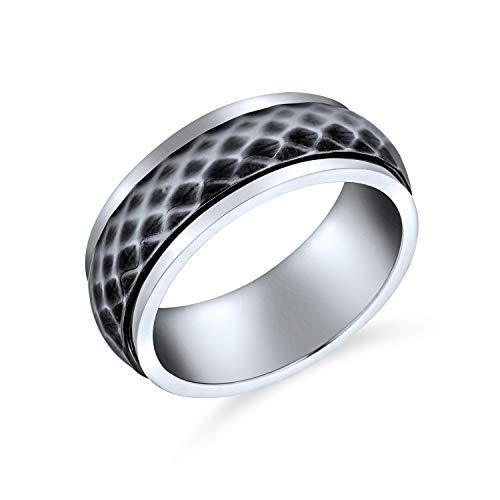 Bling Jewelry Personalizar Unisex Parejas Diamond-Cut Multi Facetado Prism Cut Alianza Fidget Spinner Anillos para Hombres Mujeres Dos Plata Tono Oxidado Inoxidable 8MM