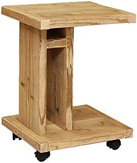 OLD ASHIBA (足場板古材) ソファ用サイドテーブル ※キャスター付き Bタイプ(棚付き) 無塗装