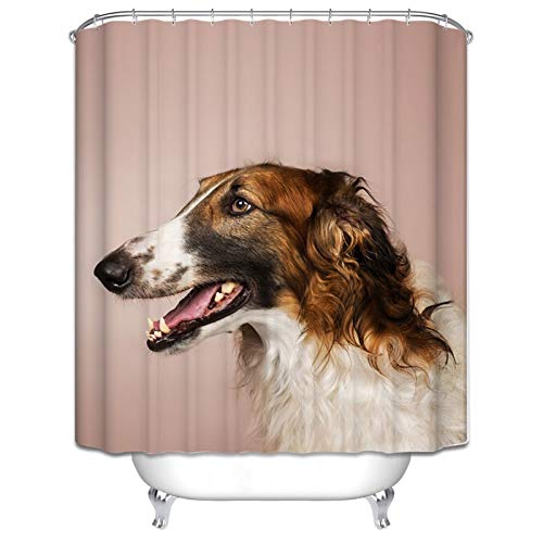 Daesar Polyester Waterproof Shower Curtain Dog Husky Shower Curtain Brown and White Shower Curtain 65x72 Inch