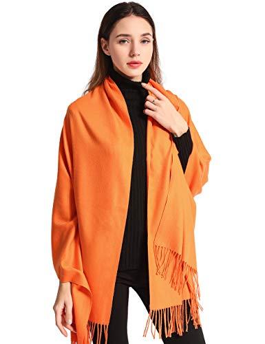 EASE LEAP Bufanda Mujer con Tacto Cachemira Fiesta Chal para Boda Suave Pashmina 200 * 70cm/(Naranja)
