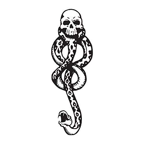 Konsait 20 Hojas Dark Mark Death Eater Tattoos, Dark Mark Mamba Skull Tatuajes temporales para adultos Niños Halloween Cosplay/Disfraz Accesorios de tatuaje Fiesta de Halloween