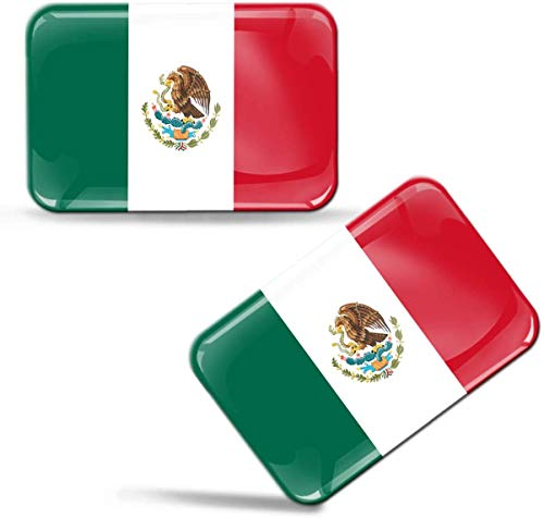 Biomar Labs® 2 x sticker 3D gel siliconen stickers Mexico vlag land land land nationale vlag Mexicaanse vlag Mexico vlag MX auto motorfiets raam deur PC Tablet laptop F 120