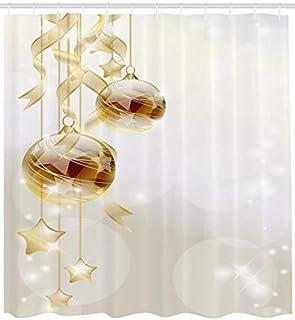 Boules De No/ël Moderne ABAKUHAUS Navidad Cortina de Ba/ño 175 x 200 cm Marr/ón Amarillo Blanco Estampa Moderna sobre Tela Resistente al Agua F/ácil Limpieza