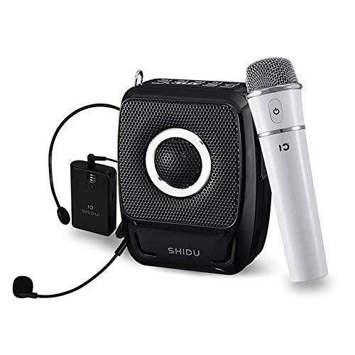 Amplificador de voz portátil SHIDU con auriculares con micrófono UHF, mini altavoz Bluetooth Pa, amplificador personal recargable de 25W 2800 mAh para profesores, guía turístico, yoga, reuniones