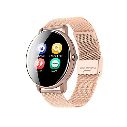 LXF JIAJU Smart Watch Women Fit Drate Fitness Tracker Mujeres a Prueba De Agua Presión Arterial Monitor SmartWatch P8 para Android iOS PK I5 (Color : Gold Steel)