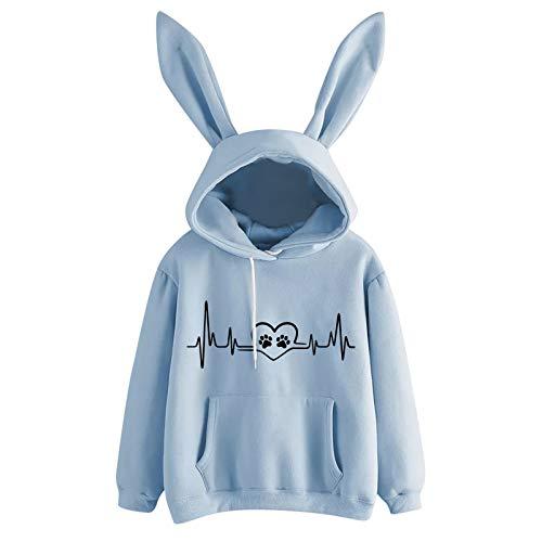 Zegeey Damen Hoodie Hasenohren Kapuzenpullover Kapuzen Langarm Sweatshirt Pullover Beiläufige Frühling Herbst Hase Pulli Oberteile Top