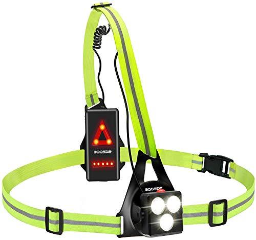 SGODDE Lauflicht,wiederaufladbare USB LED Lauflampe,Brust Lampe wasserdicht Outdoor Sport,70° Einstellbarer Abstrahlwinkel,530 Lumen, 360° reflektierendes Band,Leichtgewichtige Lampe zum Laufen