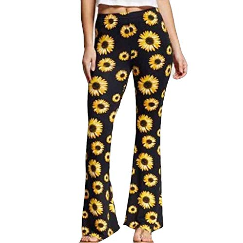 Great Price! Bootcut Pants - Sunflower Print Pants Clubwear Ankle-Length Wide Leg Pant High Waist Be...