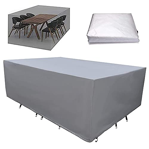 ファニチャー カバー 屋外 家具カバー 大型パティオセットカバー テーブル 椅子 防塵カバー 防水 雨雪 防風 耐紫外線 家具 保護 ガーデン テーブルカバー 多機能 耐久性 (213x132x74cm)