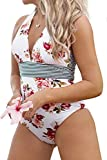 CUPSHE Women's Floral Halter Tie Deep V Neck One Piece Swimsuit Multicolored S
