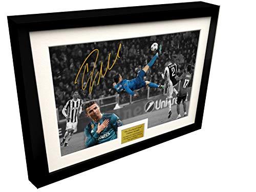 Kicks Póster de Cristiano Ronaldo The Overhead Goal, fotografía de Juventus 0 vs Real Madrid 3', tamaño A4, 12 x 8, firmada por autógrafo, Marco Negro, póster de fútbol