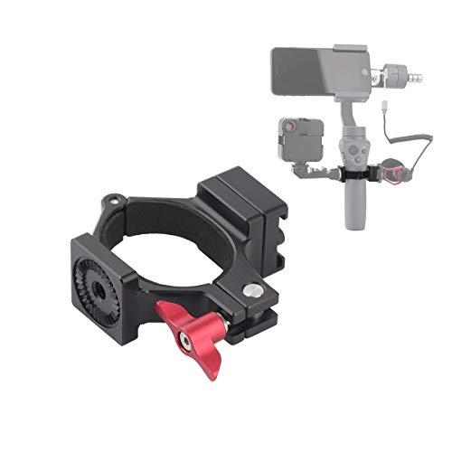 AFVO Q-Ring Klemm-Mikrofonadapter für DJI Osmo Mobile 2, kratzfest und überlegene Stabilität, stilvolles Aluminium-Design, Silbergrau