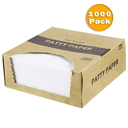 Waxed Butcher Paper Sheets | Hamburger Patty, | 1000 Non-Stick Wax Paper Squares Per Set (4.75x5)
