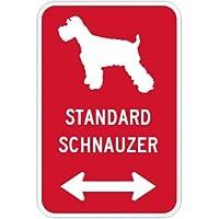 STANDARD SCHNAUZER マグネットサイン レッド:スタンダードシュナウザー(小) シルエットイラスト&矢印 英語標識デザイン Water R.