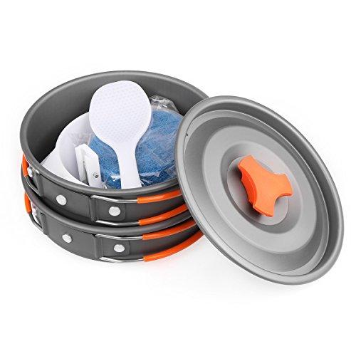 Camping batterie de cuisine camping Pot et poêles de camping batterie de cuisine Mess kit 9 pièces Cuisine de levier de vitesses et randonnée bols Cuillère Oxford Sac