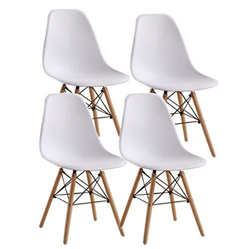 JIASEN Juego de 4 sillas de comedor de diseño moderno, sillas de comedor de plástico con patas de madera para oficina, cocina, dormitorio, color blanco