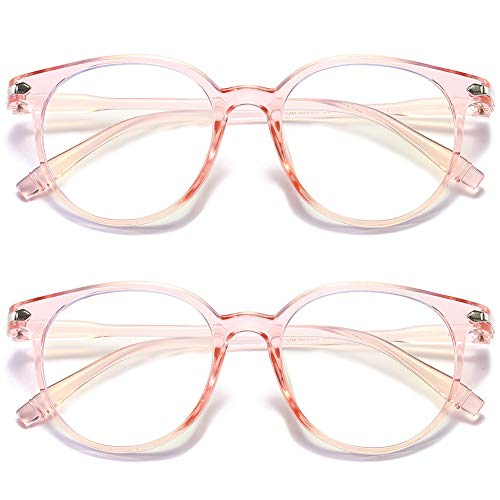 VEVESMUNDO Gafas antiluz azul para ordenador, sin graduación, gafas de cuerno, unisex, retro, vintage, borde completo, estrechas, clásicas, transparentes, con funda