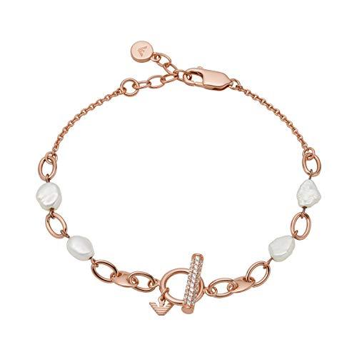 Emporio Armani EG3517221 - Pulsera de plata de ley para mujer, color oro rosa