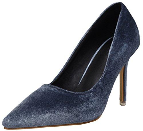 BIGTREE Samt Spitze Zehen Stiletto Kleid Pumps Damen Hochzeit High Heel Schuhe Blau 35 EU