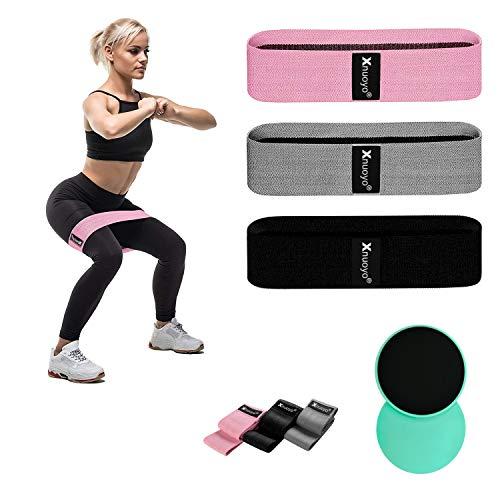 Xnuoyo Widerstandsbänder Set und doppelseitige Gleitscheiben, Resistance Bands für Muskelaufbau Pilates Yoga, 3 Fitnessbänder für Hintern, Beine und Ganzkörpertraining