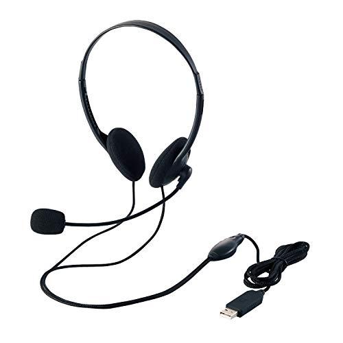 『エレコム ヘッドセット マイク USB 両耳 オーバーヘッド 1.8m HS-HP27UBK』のトップ画像