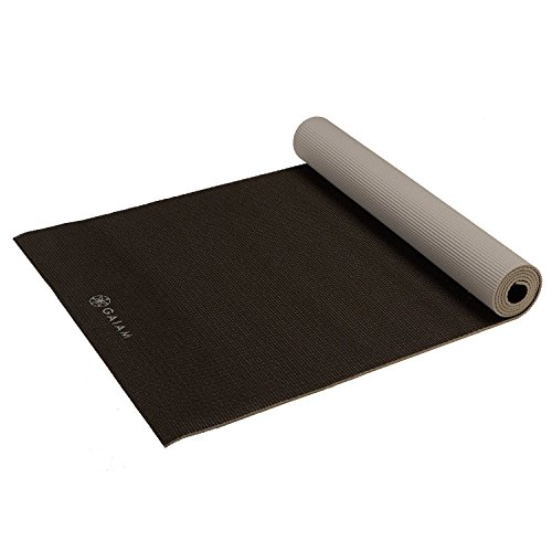 Gaiam Yoga Mat Classic Solid Color Reversible Non Slip Exercise & Fitness Mat for All Types of Yoga, Pilates & Floor Workouts, Granite Storm, 4mm
