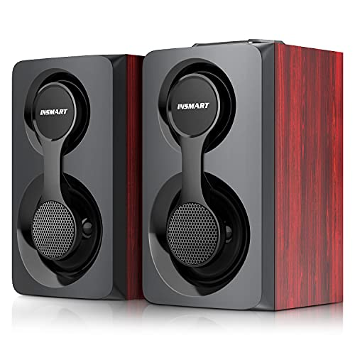 Computer Speakers, Support Wired and Bluetooth 5.0, Wooden Speakers with 2.0 Stereo Volume Control, Triple Channel Multimedia Speakers for PC/Laptops/Desktops/Phone/Ipad/Game Machine - 10W (Black)