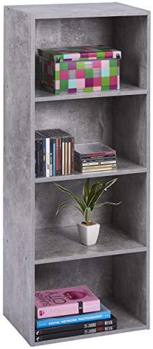 ts-ideen Standregal Bücherregal Aufbewahrung MDF Betonoptik Grau 4 Fächer CD-Regal 106 x 41,5 cm