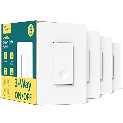 3 Way Smart Light Switch 4 Pack, Treatlife 2.4GHz Wi-Fi Smart Switch Works with Alexa and Google Home, Neutral Wire Required, Remote Control, ETL Certified, No Hub Required