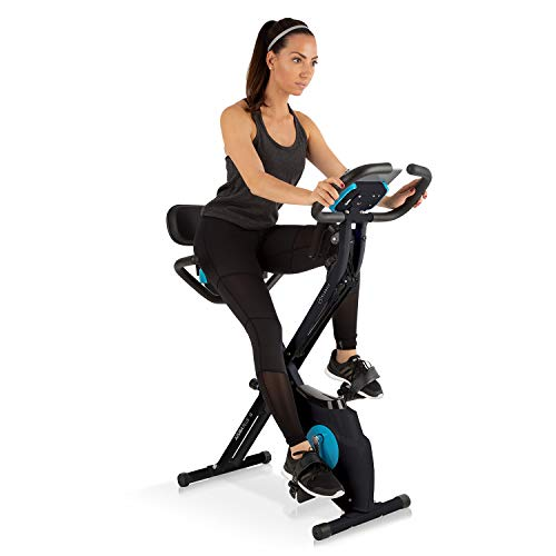 Klarfit Azura - Ergometro, Cyclette Sdraio, Ergometro Cardio, Hometraining, Resistenza Regolabile 8 Stadi, Regolatore da Polso, Sella Ergonometrica, Resistenza Max. 100 kg,