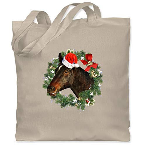 Shirtracer Weihnachten Kind - Pferd mit Weihnachtsmütze im Kranz - Unisize - Naturweiß - weihnachtsmütze pferde - WM101 - Stoffbeutel aus Baumwolle Jutebeutel lange Henkel