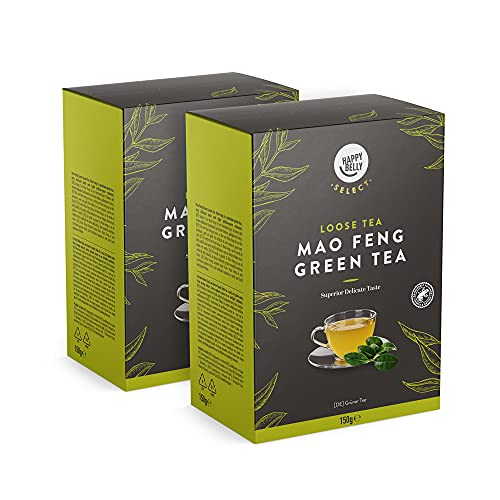 Amazon-Marke: Happy Belly Select Grüner Tee Mao Feng, lose Blätter, 2 x 150 g