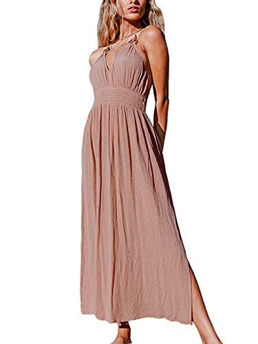 CUPSHE Women's Khaki Halter V Neck Ruched O Ring Elastic Waist Backless Maxi Dress M