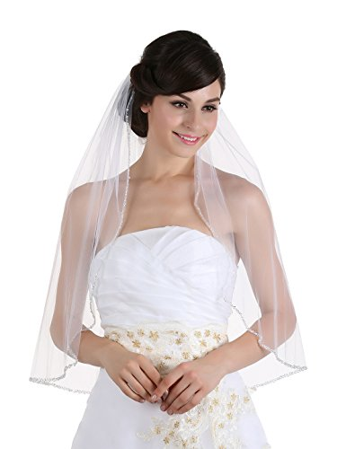 """1T 1 Tier Crystals Pearls Beaded Wedding Veil (Elbow Length 30"""" Ivory)"""