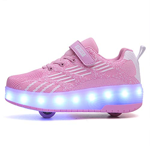 ZZRA Zapatos de Patinaje sobre Ruedas 2 en 1 Sneaker-Skates Carga USB Intermitente Niños Niños Niñas Zapatos de Skate Deportes al Aire Libre Ruedas LED Que Brillan intensamente Dos Ruedas Zapatos