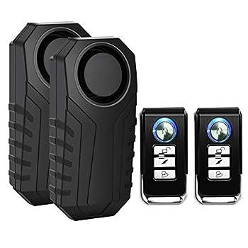 SuperInk 2 Set Wireless Bike Alarm with Remote Anti-Theft Bicycle Motorcycle Alarm Wireless Security Vibration Motion Sensor Alarm IP55 Waterproof Super Loud 113dB Alarm