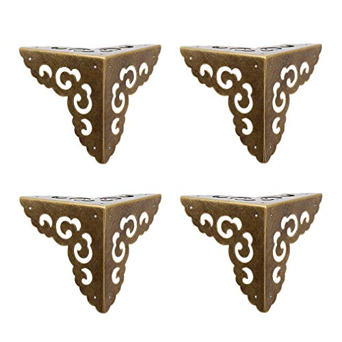 Tiazza 4Pcs Vintage Pure Brass Hollow Cloud Pattern Corner Protectors Antique Hardware Desk Edge Wooden Jewelry Gift Box Cabinet Three Sides Full Encase Corner Guard