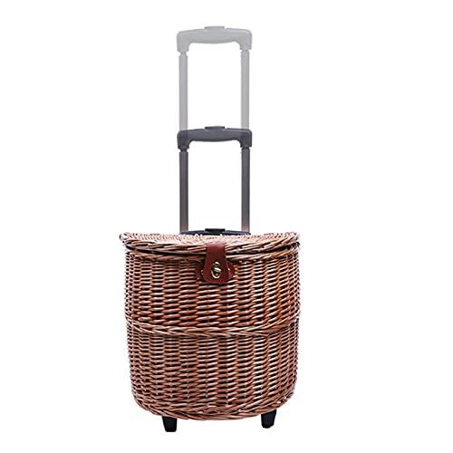 BUYYUB Trolley Picknickkorb, Rattan Multifunktionaler Lagerkorb Mit Deckel, Outdoor Picknick Requisiten